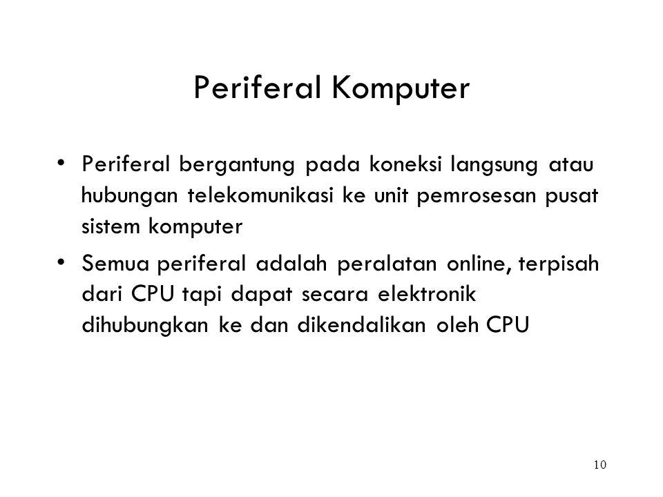 10 Periferal Komputer Periferal bergantung pada koneksi langsung atau hubungan telekomunikasi ke unit pemrosesan pusat sistem komputer Semua periferal