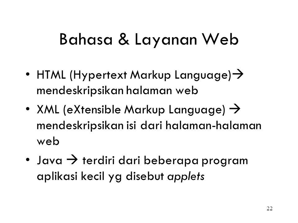 22 Bahasa & Layanan Web HTML (Hypertext Markup Language)  mendeskripsikan halaman web XML (eXtensible Markup Language)  mendeskripsikan isi dari hal
