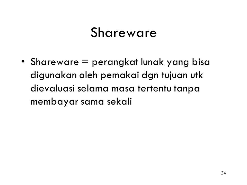 24 Shareware Shareware = perangkat lunak yang bisa digunakan oleh pemakai dgn tujuan utk dievaluasi selama masa tertentu tanpa membayar sama sekali
