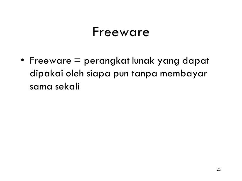 25 Freeware Freeware = perangkat lunak yang dapat dipakai oleh siapa pun tanpa membayar sama sekali