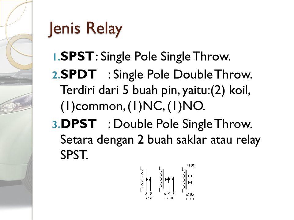 1. SPST: Single Pole Single Throw. 2. SPDT : Single Pole Double Throw. Terdiri dari 5 buah pin, yaitu:(2) koil, (1)common, (1)NC, (1)NO. 3. DPST : Dou