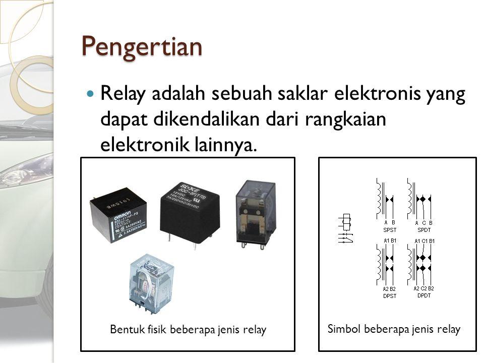 Pengertian Relay adalah sebuah saklar elektronis yang dapat dikendalikan dari rangkaian elektronik lainnya. Simbol beberapa jenis relay Bentuk fisik b