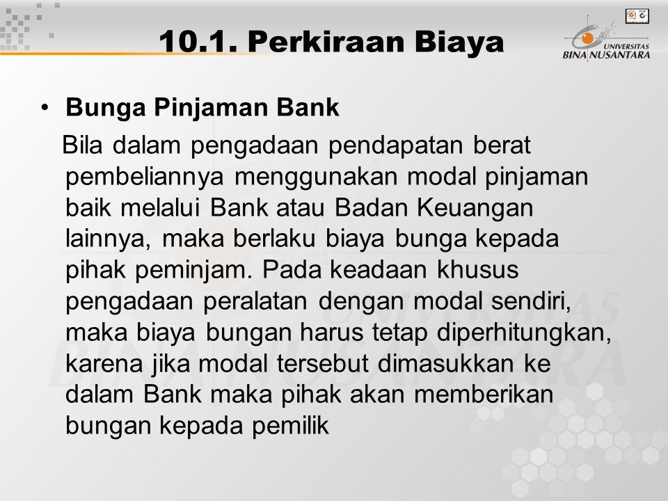 10.1. Perkiraan Biaya Bunga Pinjaman Bank Bila dalam pengadaan pendapatan berat pembeliannya menggunakan modal pinjaman baik melalui Bank atau Badan K