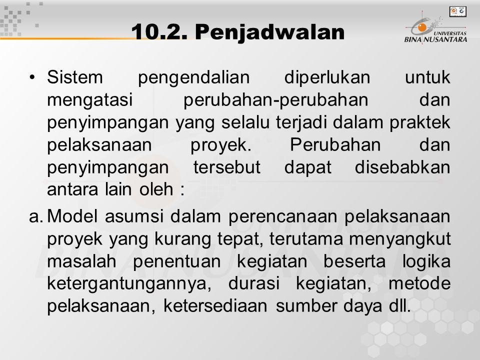 10.2. Penjadwalan Sistem pengendalian diperlukan untuk mengatasi perubahan-perubahan dan penyimpangan yang selalu terjadi dalam praktek pelaksanaan pr