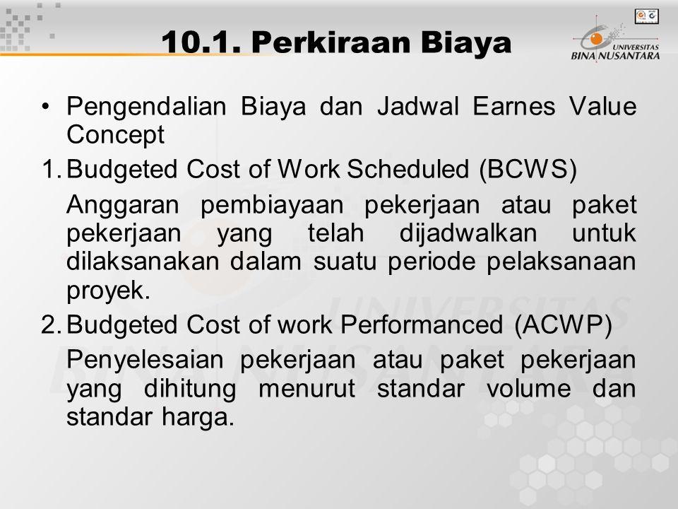 10.1. Perkiraan Biaya Pengendalian Biaya dan Jadwal Earnes Value Concept 1.Budgeted Cost of Work Scheduled (BCWS) Anggaran pembiayaan pekerjaan atau p