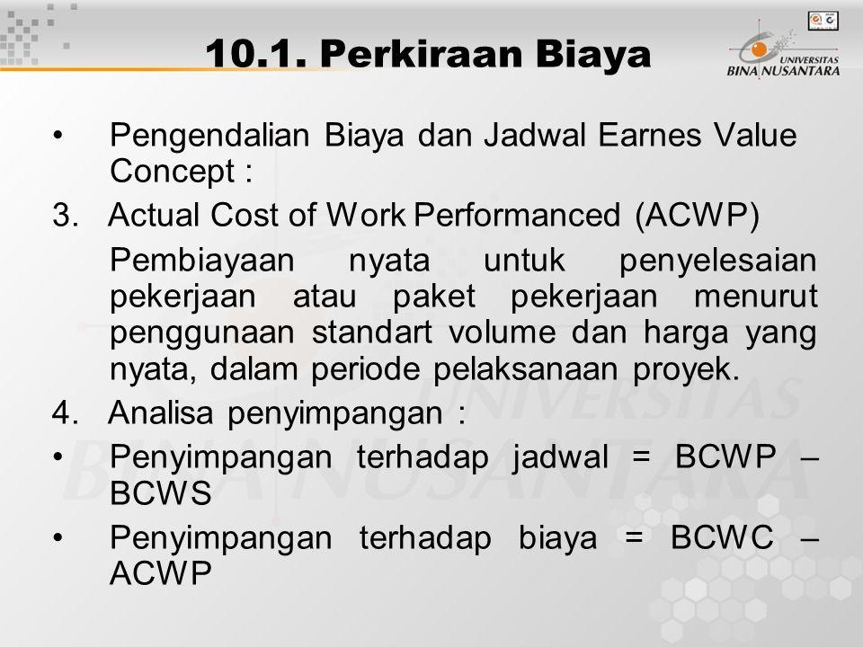 10.1. Perkiraan Biaya Pengendalian Biaya dan Jadwal Earnes Value Concept : 3. Actual Cost of Work Performanced (ACWP) Pembiayaan nyata untuk penyelesa