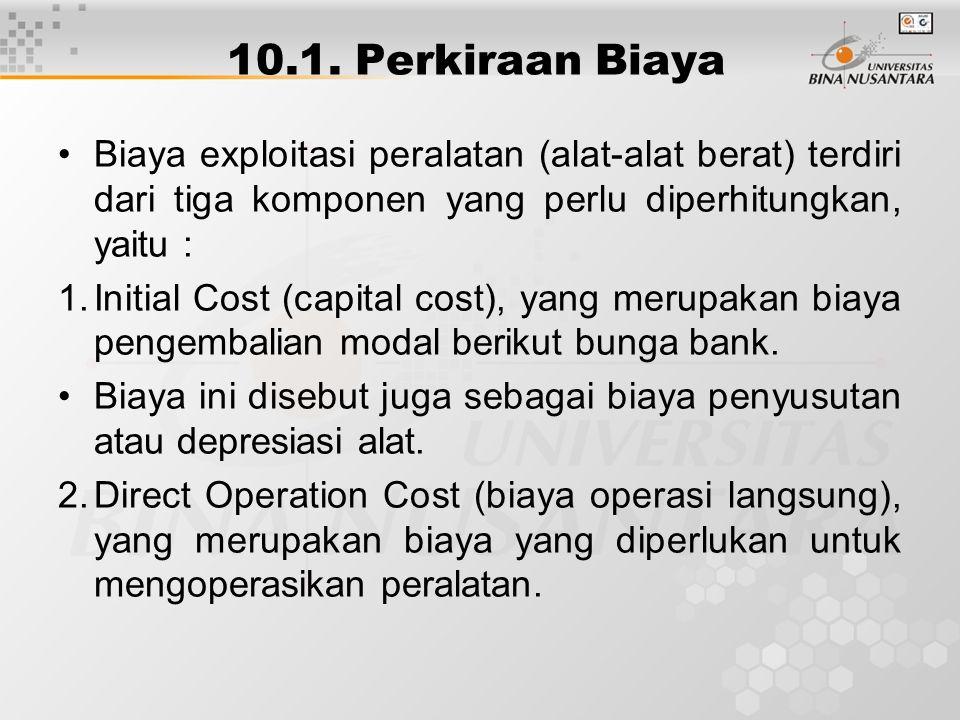 10.1. Perkiraan Biaya Biaya exploitasi peralatan (alat-alat berat) terdiri dari tiga komponen yang perlu diperhitungkan, yaitu : 1.Initial Cost (capit