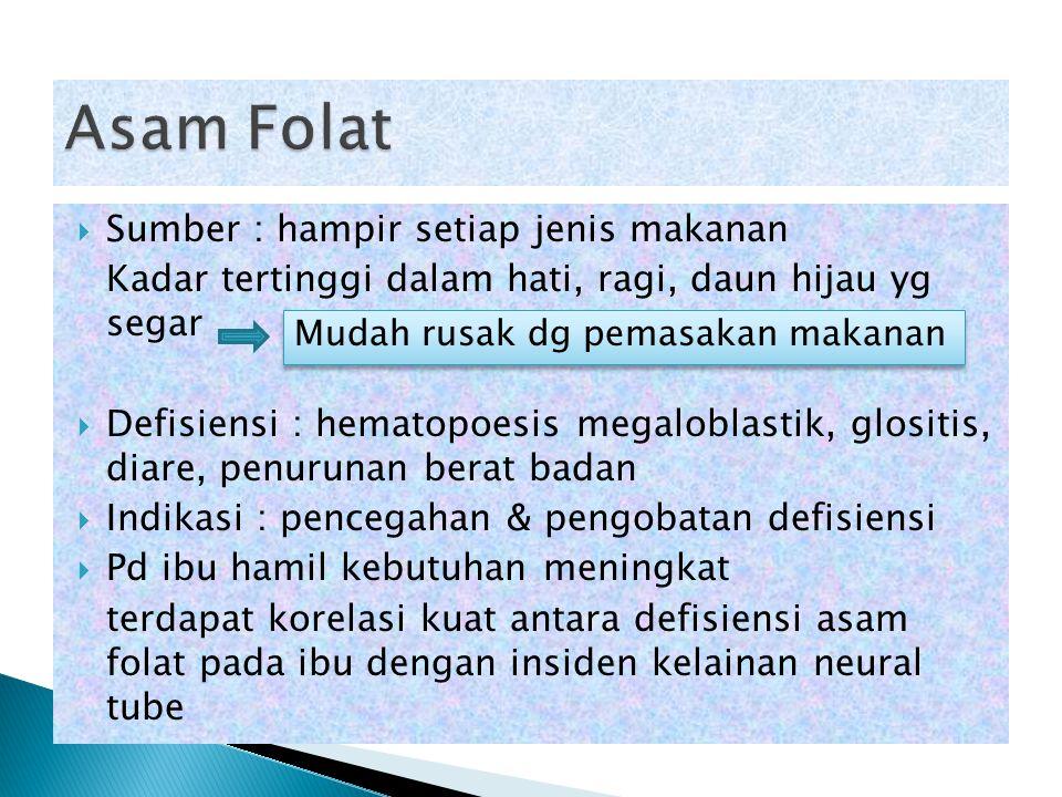  Sumber : hampir setiap jenis makanan Kadar tertinggi dalam hati, ragi, daun hijau yg segar  Defisiensi : hematopoesis megaloblastik, glositis, diar