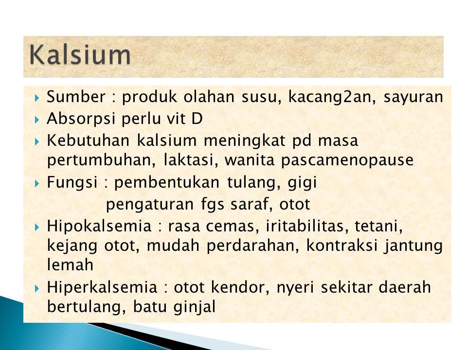  Sumber : produk olahan susu, kacang2an, sayuran  Absorpsi perlu vit D  Kebutuhan kalsium meningkat pd masa pertumbuhan, laktasi, wanita pascamenop