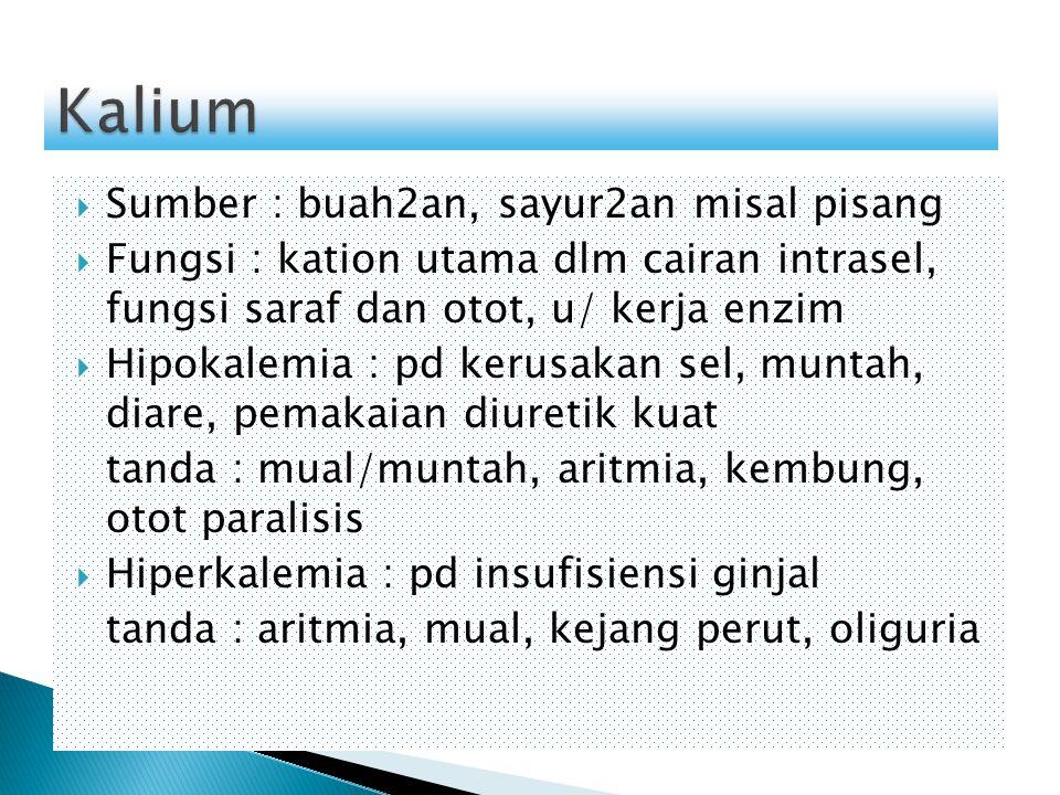  Sumber : buah2an, sayur2an misal pisang  Fungsi : kation utama dlm cairan intrasel, fungsi saraf dan otot, u/ kerja enzim  Hipokalemia : pd kerusa
