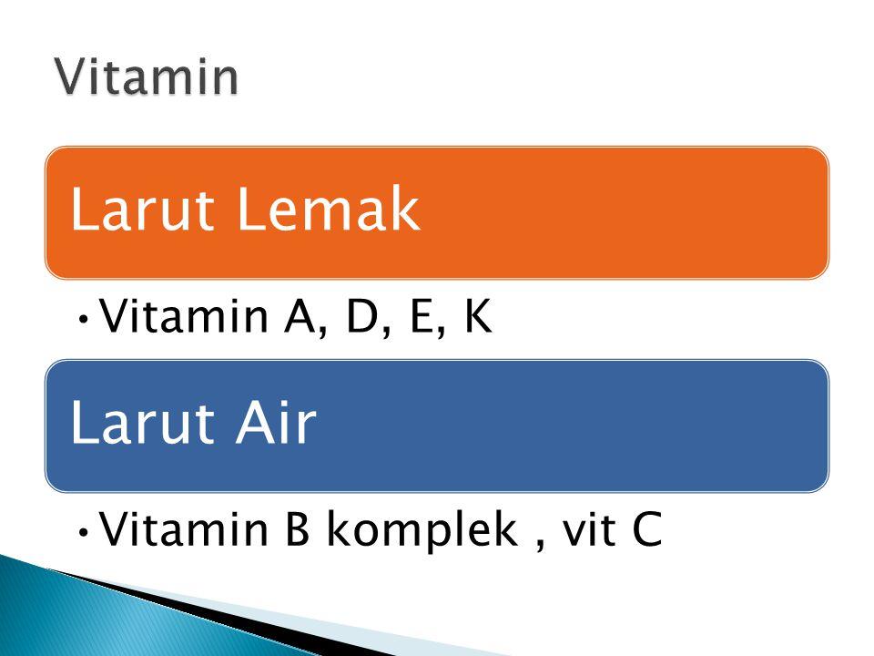 Larut Lemak Vitamin A, D, E, K Larut Air Vitamin B komplek, vit C