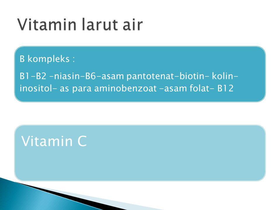 B kompleks : B1-B2 –niasin-B6-asam pantotenat-biotin- kolin- inositol- as para aminobenzoat -asam folat- B12 Vitamin C