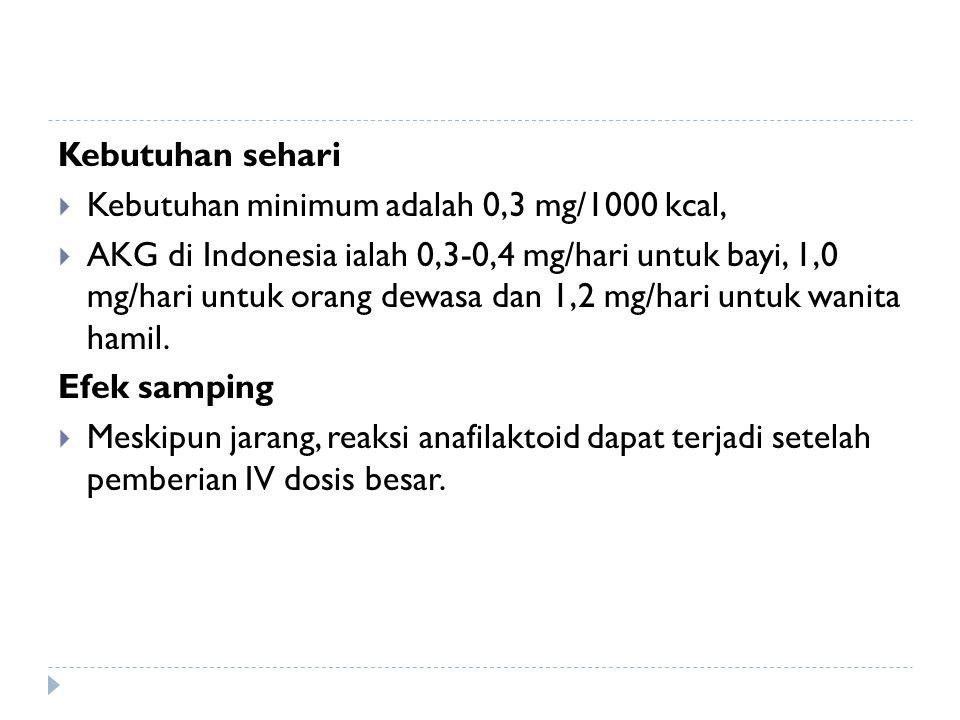 Kebutuhan sehari  Kebutuhan minimum adalah 0,3 mg/1000 kcal,  AKG di Indonesia ialah 0,3-0,4 mg/hari untuk bayi, 1,0 mg/hari untuk orang dewasa dan