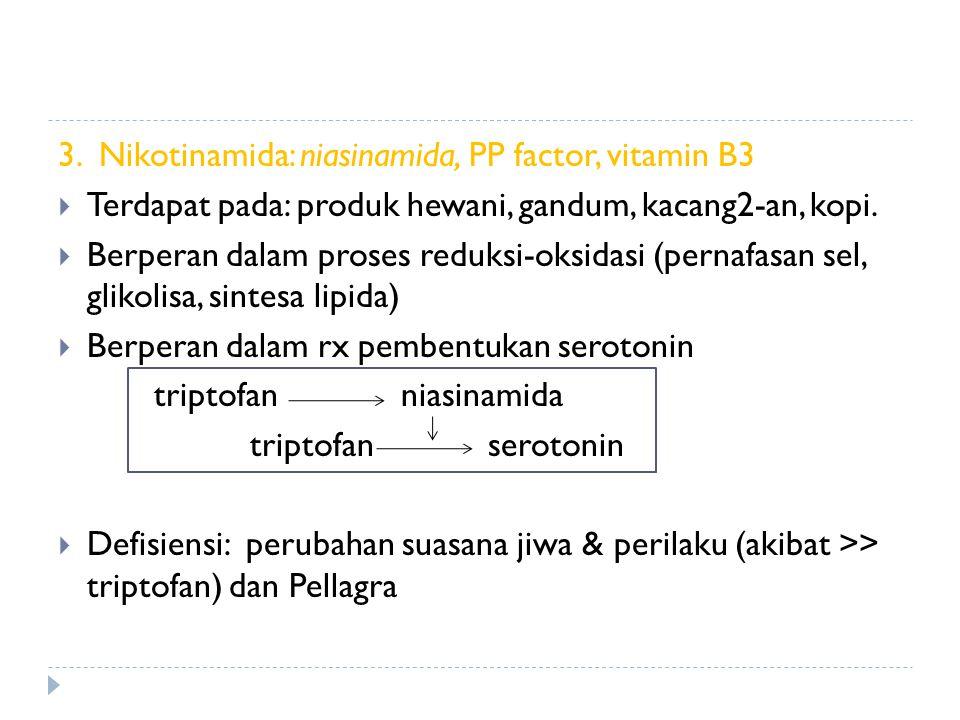3. Nikotinamida: niasinamida, PP factor, vitamin B3  Terdapat pada: produk hewani, gandum, kacang2-an, kopi.  Berperan dalam proses reduksi-oksidasi