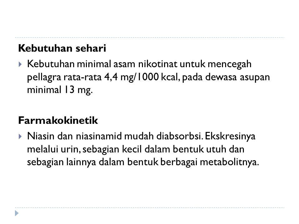 Kebutuhan sehari  Kebutuhan minimal asam nikotinat untuk mencegah pellagra rata-rata 4,4 mg/1000 kcal, pada dewasa asupan minimal 13 mg. Farmakokinet