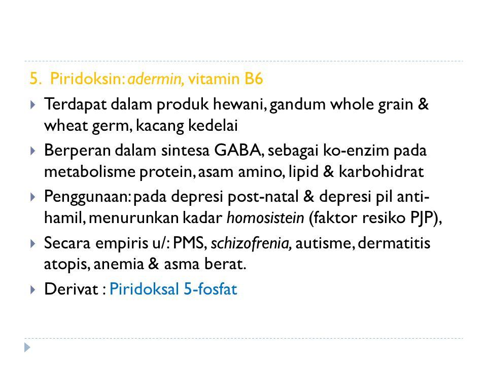 5. Piridoksin: adermin, vitamin B6  Terdapat dalam produk hewani, gandum whole grain & wheat germ, kacang kedelai  Berperan dalam sintesa GABA, seba