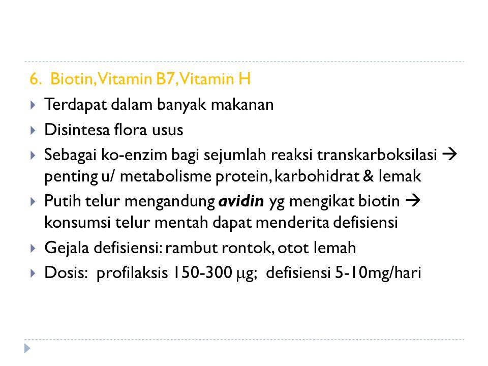 6. Biotin, Vitamin B7, Vitamin H  Terdapat dalam banyak makanan  Disintesa flora usus  Sebagai ko-enzim bagi sejumlah reaksi transkarboksilasi  pe