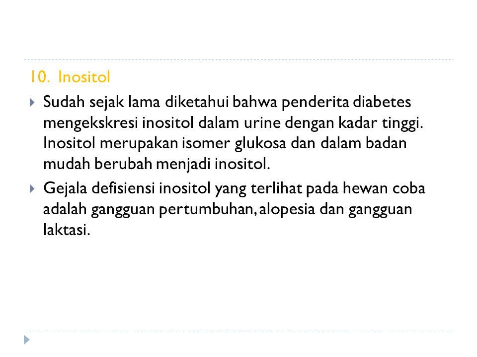 10. Inositol  Sudah sejak lama diketahui bahwa penderita diabetes mengekskresi inositol dalam urine dengan kadar tinggi. Inositol merupakan isomer gl