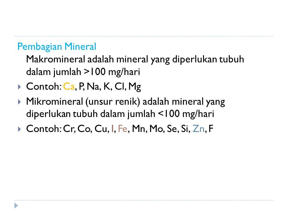 Pembagian Mineral Makromineral adalah mineral yang diperlukan tubuh dalam jumlah >100 mg/hari  Contoh: Ca, P, Na, K, Cl, Mg  Mikromineral (unsur ren