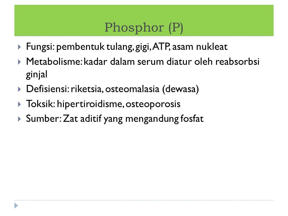 Phosphor (P)  Fungsi: pembentuk tulang, gigi, ATP, asam nukleat  Metabolisme: kadar dalam serum diatur oleh reabsorbsi ginjal  Defisiensi: riketsia
