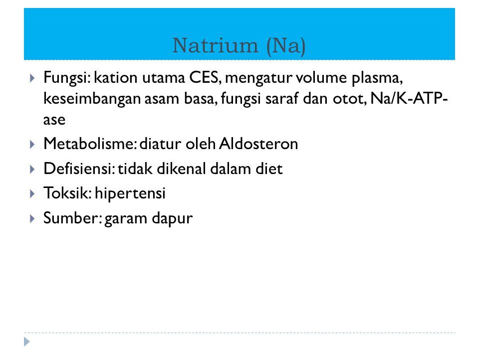 Natrium (Na)  Fungsi: kation utama CES, mengatur volume plasma, keseimbangan asam basa, fungsi saraf dan otot, Na/K-ATP- ase  Metabolisme: diatur ol