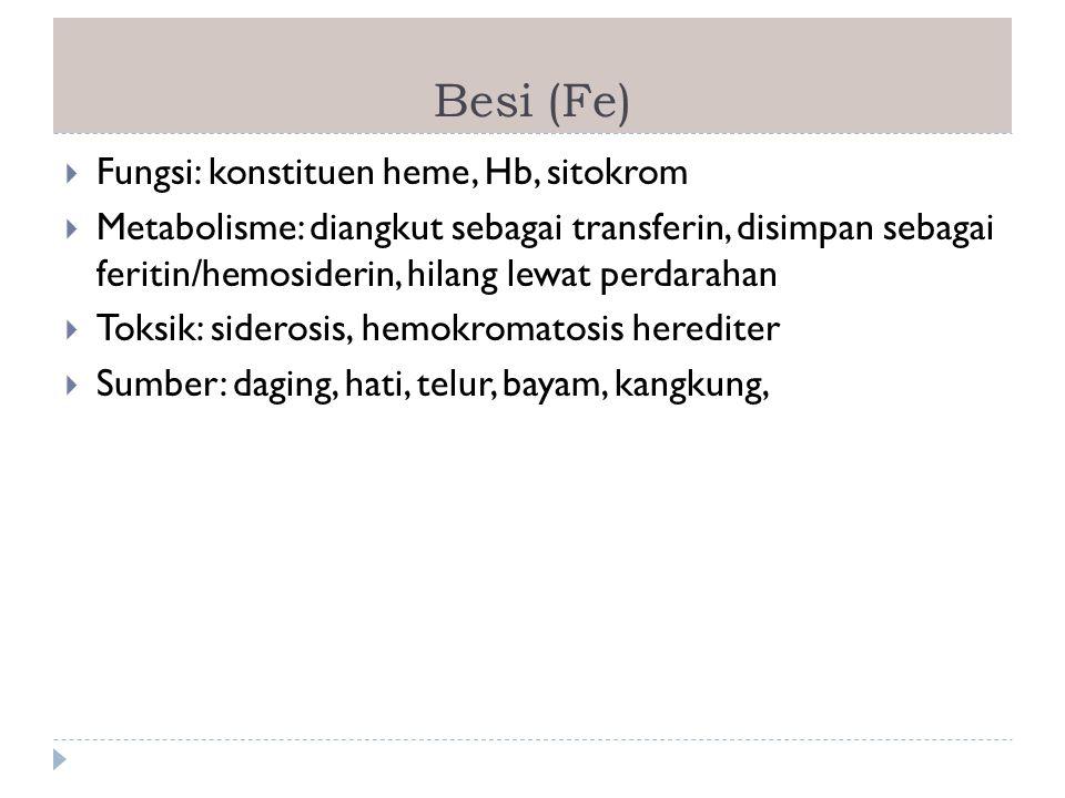 Besi (Fe)  Fungsi: konstituen heme, Hb, sitokrom  Metabolisme: diangkut sebagai transferin, disimpan sebagai feritin/hemosiderin, hilang lewat perda