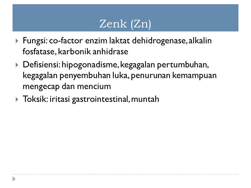 Zenk (Zn)  Fungsi: co-factor enzim laktat dehidrogenase, alkalin fosfatase, karbonik anhidrase  Defisiensi: hipogonadisme, kegagalan pertumbuhan, ke