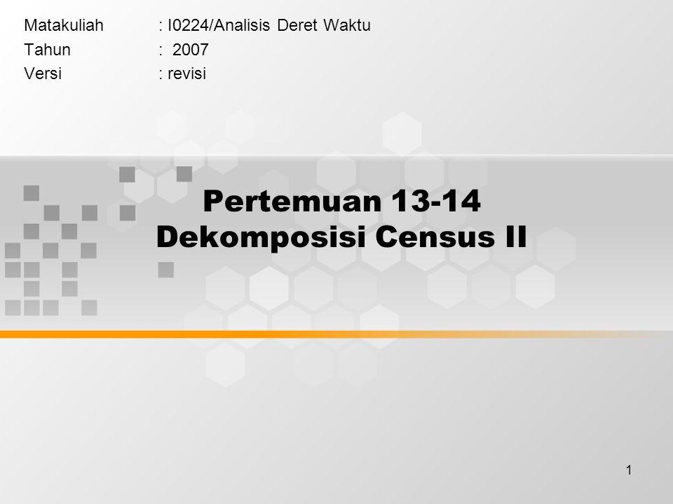 2 Learning Outcomes Pada akhir pertemuan ini, diharapkan mahasiswa akan mampu : Meramalkan data deret waktu dengan metode dekomposisis Census II