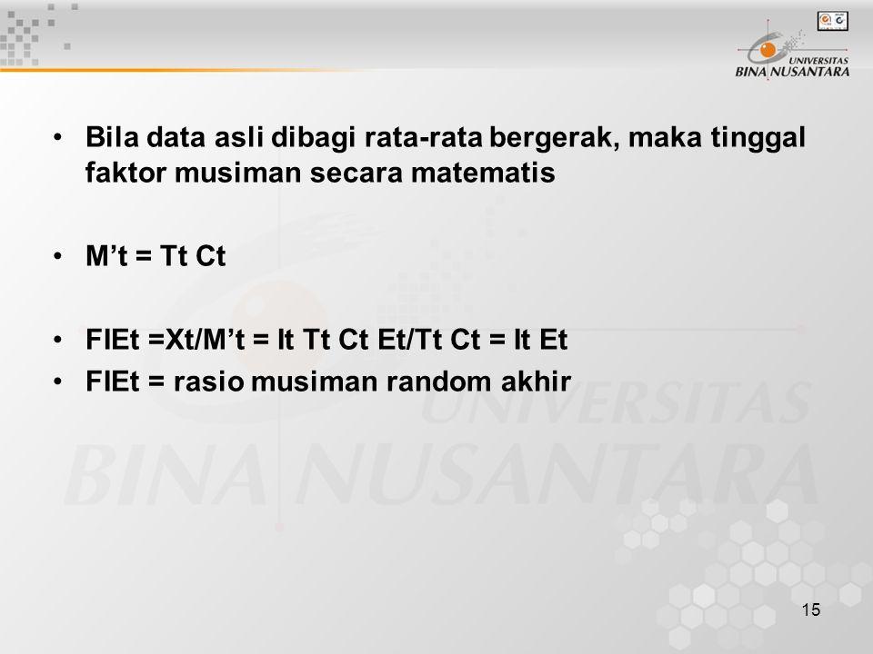 15 Bila data asli dibagi rata-rata bergerak, maka tinggal faktor musiman secara matematis M't = Tt Ct FIEt =Xt/M't = It Tt Ct Et/Tt Ct = It Et FIEt =