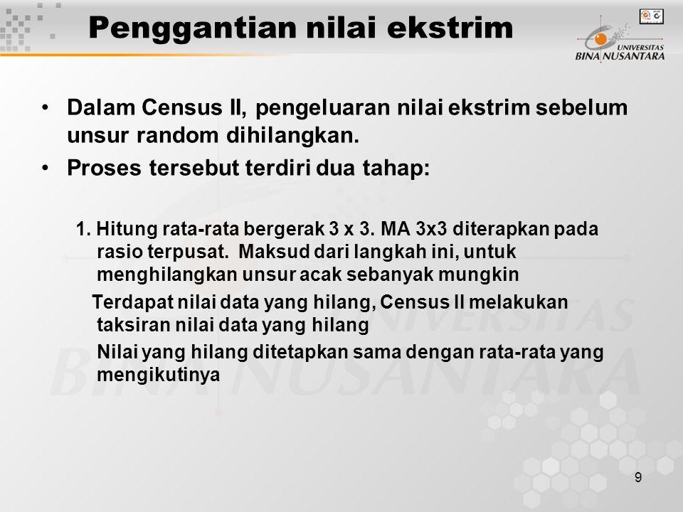 9 Penggantian nilai ekstrim Dalam Census II, pengeluaran nilai ekstrim sebelum unsur random dihilangkan. Proses tersebut terdiri dua tahap: 1. Hitung