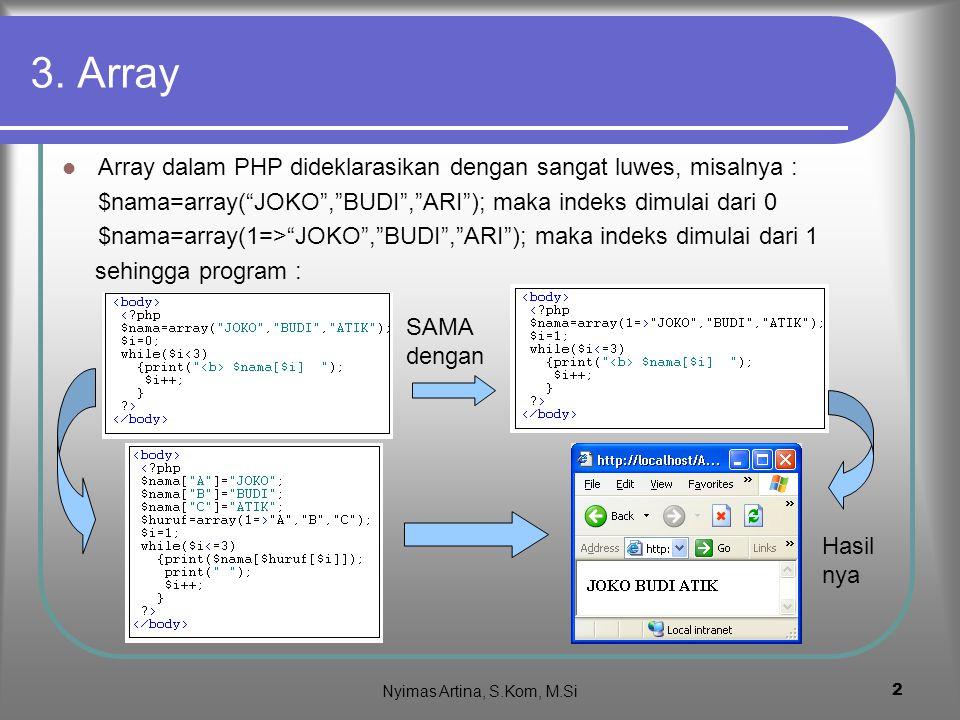 Nyimas Artina, S.Kom, M.Si 1 PHP Array