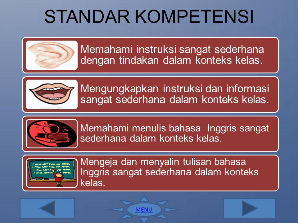 MENU Standar Kompetensi Kompetensi Dasar Activities Exercises Produksi @Juni 2012 Program Studi Pendidikan Bahasa Inggris FKIP Universitas Mahasaraswa