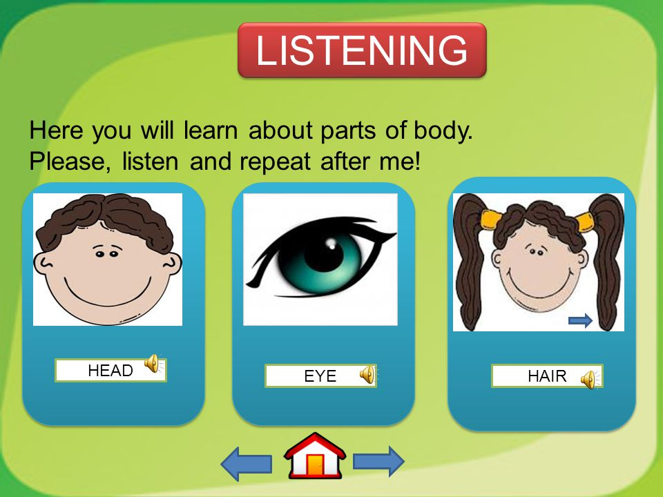 3. What is this? this is…. a. eye b. nose c. ear d. hair Exercise 3 Exercise 3 1 1 2 2 3 3 4 4 5 5