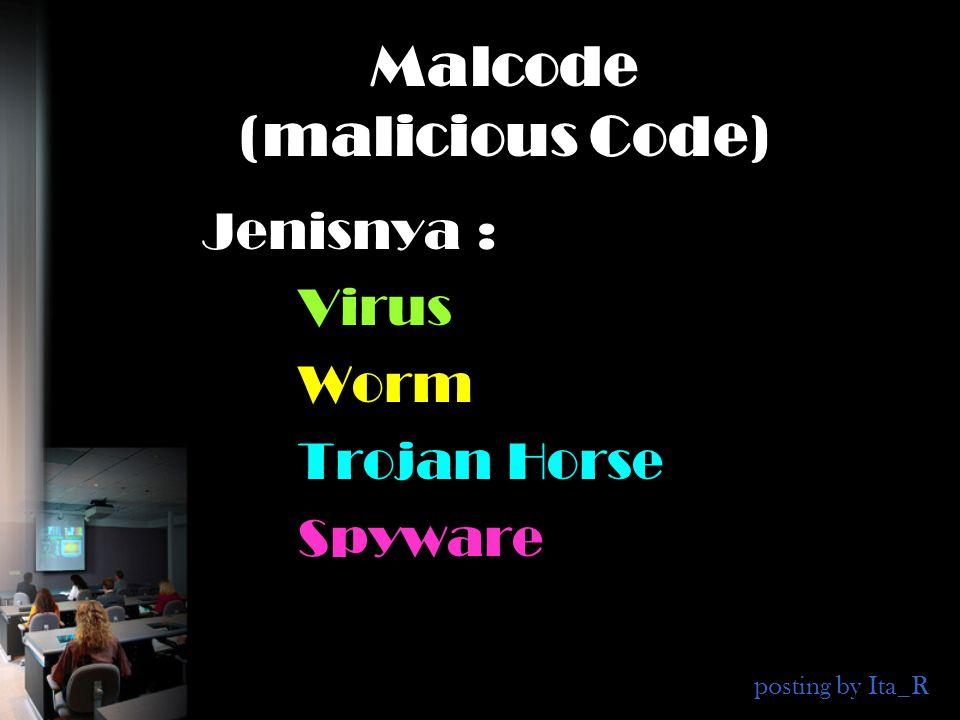 Malcode (malicious Code) Jenisnya : Virus Worm Trojan Horse Spyware posting by Ita_R
