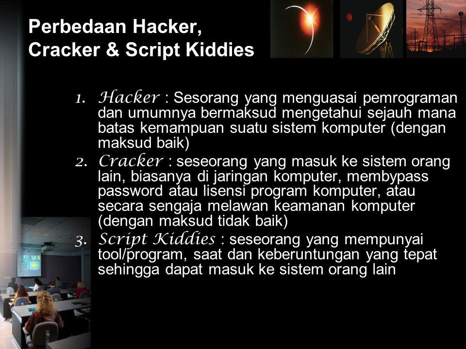 Perbedaan Hacker, Cracker & Script Kiddies 1.Hacker : Sesorang yang menguasai pemrograman dan umumnya bermaksud mengetahui sejauh mana batas kemampuan