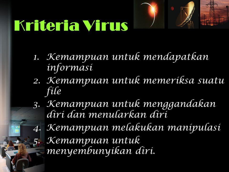 Kriteria Virus 1.Kemampuan untuk mendapatkan informasi 2.Kemampuan untuk memeriksa suatu file 3.Kemampuan untuk menggandakan diri dan menularkan diri