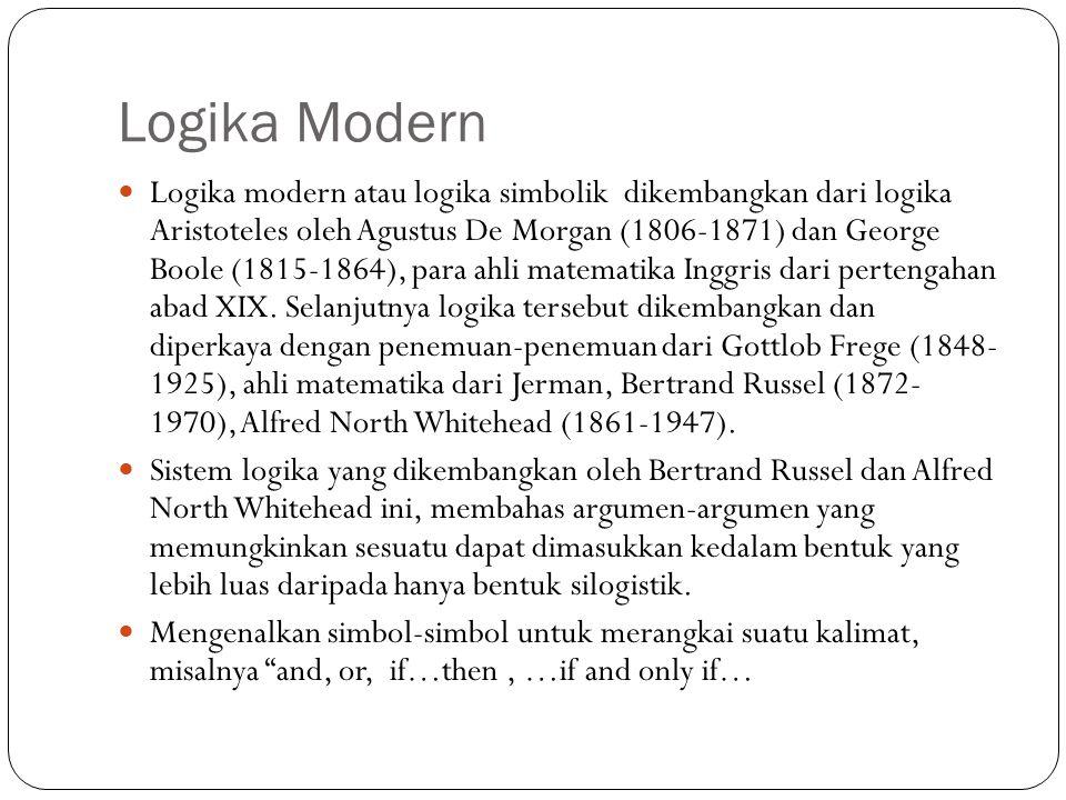 Logika Klasik Pertama kali diperkenalkan oleh Aristoteles seorang ahli filsuf dan sains dari Yunani. Disebut juga logika Aristoteles, menurutnya suatu