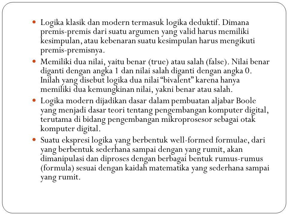Logika Modern Logika modern atau logika simbolik dikembangkan dari logika Aristoteles oleh Agustus De Morgan (1806-1871) dan George Boole (1815-1864), para ahli matematika Inggris dari pertengahan abad XIX.