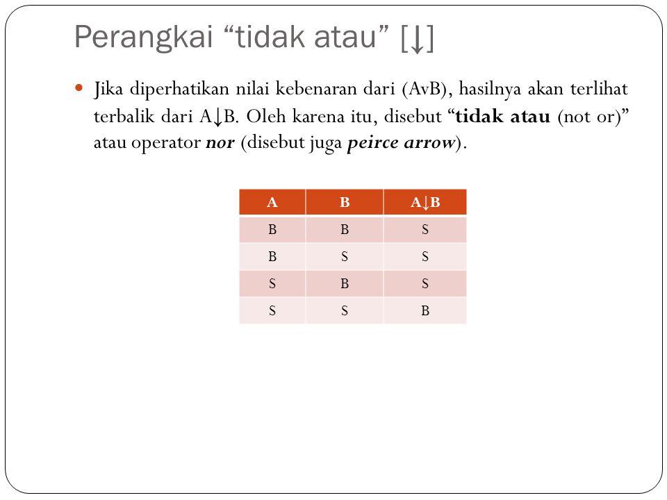 Perangkai tidak dan [|] Jika diperhatikan nilai kebenaran dari (A|B), maka hasilnya akan terlihat terbalik dari A^B.