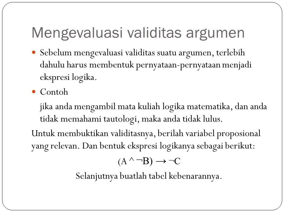 Pendahuluan Mengubah suatu argumen atau pernyataan menjadi suatu ekspresi logika, tentunya harus mengenali sub-eskpresi.