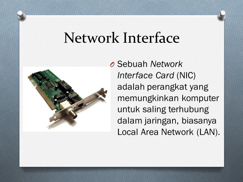 Network Interface O Sebuah Network Interface Card (NIC) adalah perangkat yang memungkinkan komputer untuk saling terhubung dalam jaringan, biasanya Local Area Network (LAN).