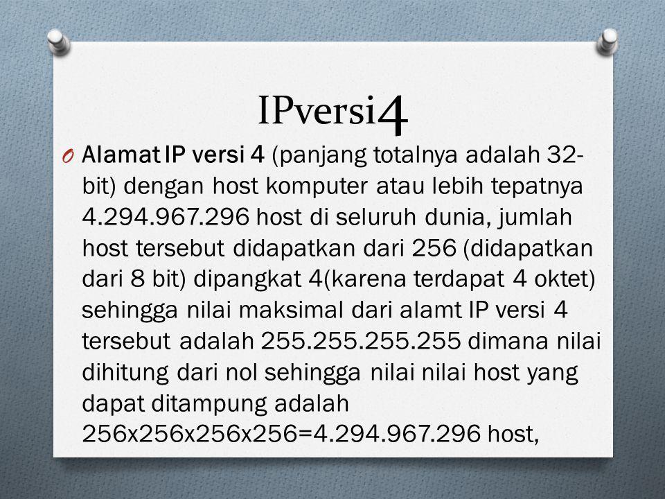 IPversi 4 O Alamat IP versi 4 (panjang totalnya adalah 32- bit) dengan host komputer atau lebih tepatnya 4.294.967.296 host di seluruh dunia, jumlah host tersebut didapatkan dari 256 (didapatkan dari 8 bit) dipangkat 4(karena terdapat 4 oktet) sehingga nilai maksimal dari alamt IP versi 4 tersebut adalah 255.255.255.255 dimana nilai dihitung dari nol sehingga nilai nilai host yang dapat ditampung adalah 256x256x256x256=4.294.967.296 host,