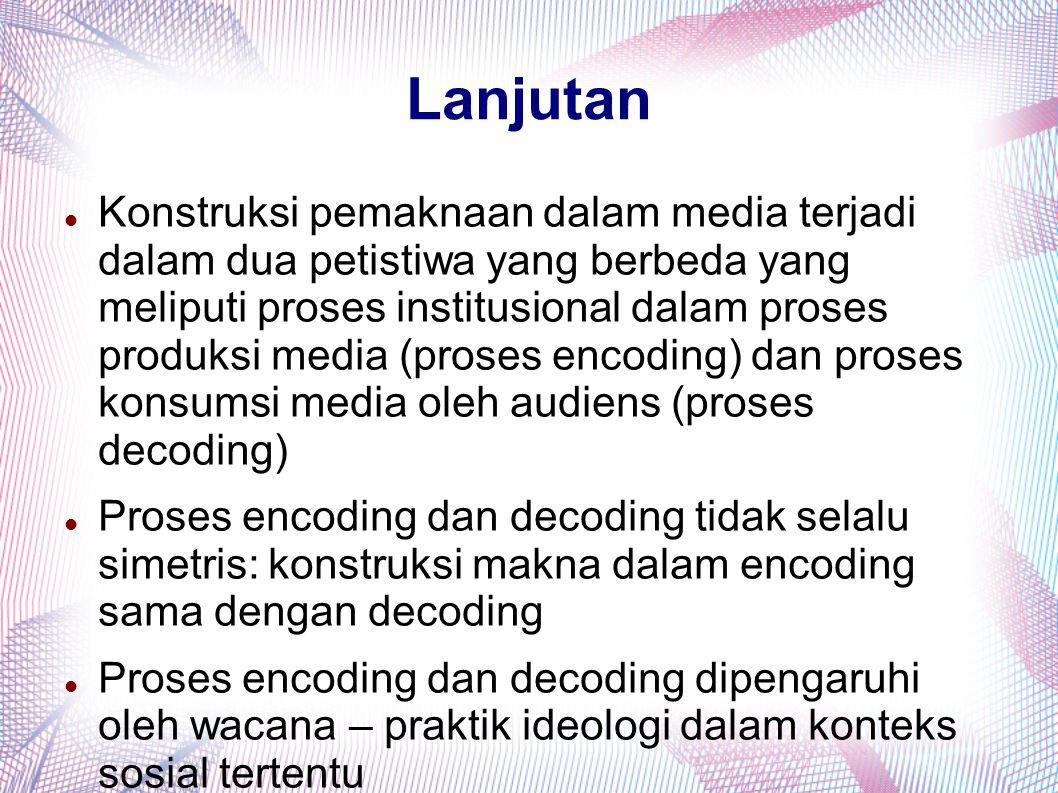 Lanjutan Konstruksi pemaknaan dalam media terjadi dalam dua petistiwa yang berbeda yang meliputi proses institusional dalam proses produksi media (pro
