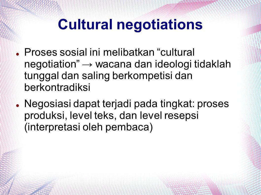 """Cultural negotiations Proses sosial ini melibatkan """"cultural negotiation"""" → wacana dan ideologi tidaklah tunggal dan saling berkompetisi dan berkontra"""