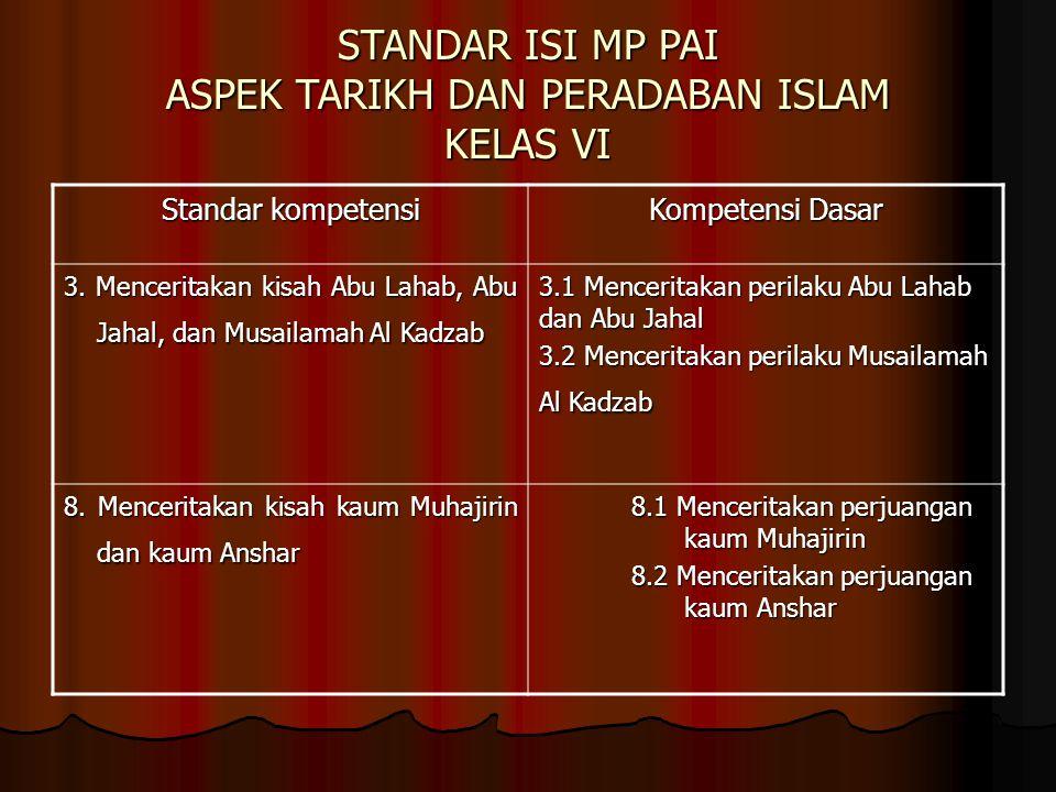 STANDAR ISI MP PAI ASPEK TARIKH DAN PERADABAN ISLAM KELAS VI Standar kompetensi Kompetensi Dasar 3. Menceritakan kisah Abu Lahab, Abu Jahal, dan Musai