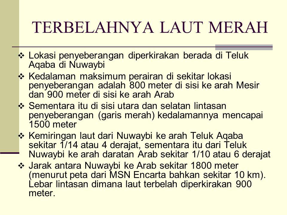  Lokasi penyeberangan diperkirakan berada di Teluk Aqaba di Nuwaybi  Kedalaman maksimum perairan di sekitar lokasi penyeberangan adalah 800 meter di