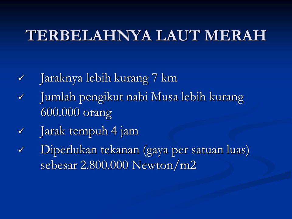TERBELAHNYA LAUT MERAH Jaraknya lebih kurang 7 km Jaraknya lebih kurang 7 km Jumlah pengikut nabi Musa lebih kurang 600.000 orang Jumlah pengikut nabi
