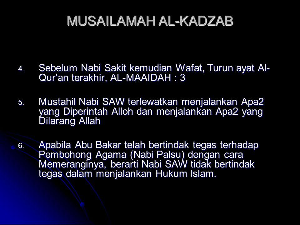 MUSAILAMAH AL-KADZAB 4. Sebelum Nabi Sakit kemudian Wafat, Turun ayat Al- Qur'an terakhir, AL-MAAIDAH : 3 5. Mustahil Nabi SAW terlewatkan menjalankan