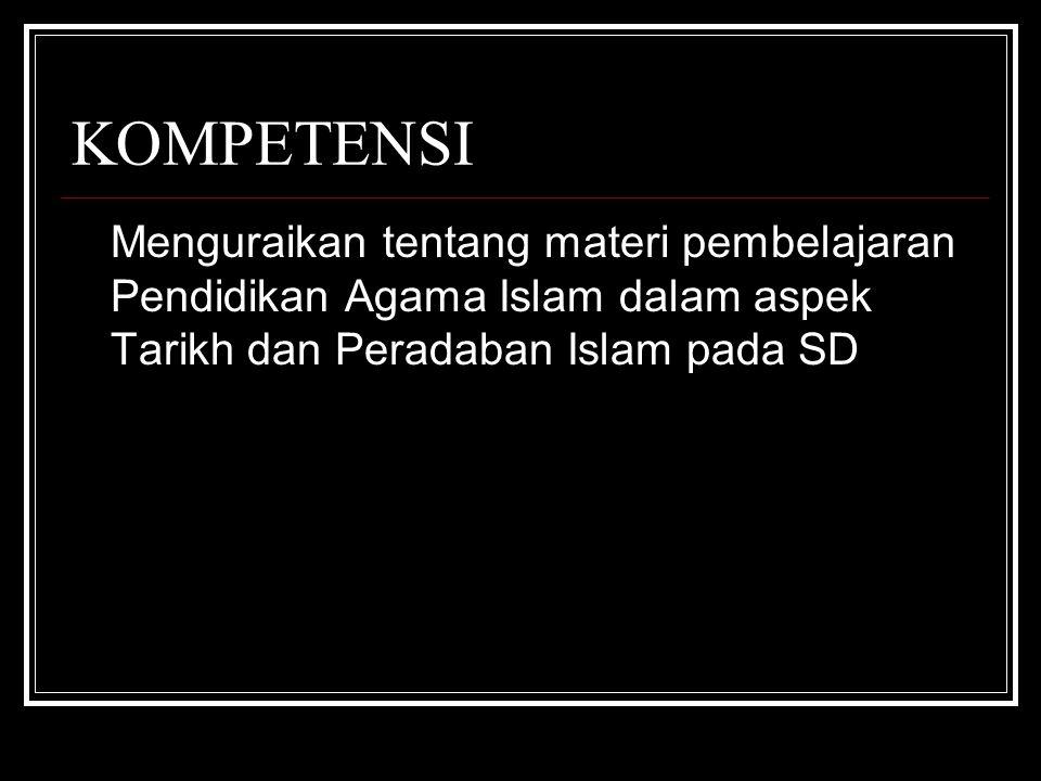 INDIKATOR Menjelaskan pengertian tarikh dan peradaban Islam Menjelaskan manfaat dari pembelajaran PAI aspek Tarikh dan Peradaban Islam Menentukan jumlah KD Tarikh dan Peradaban Islam pada SD Menguraikan materi pokok Tarikh dan Peradaban Islam pada SD