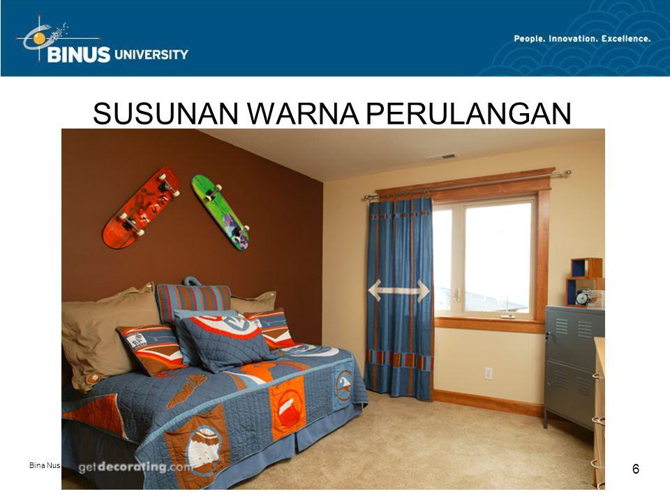 Bina Nusantara University 17 SUSUNAN WARNA KONTRAS Komposisi warna selaras adalah kombinasi warna yang letaknya saling berseberangan dalam colour wheel.